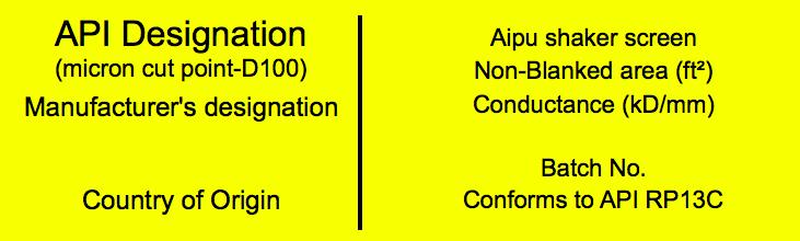Shaker screen labels